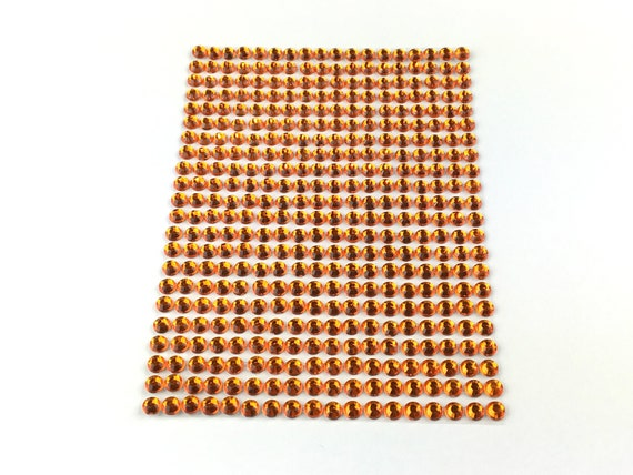 3mm SS12 Amber  Acrylic Self Adhesive Rhinestones 1 Sheet