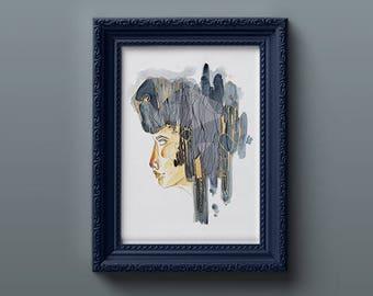 GroBartig Hear No Evil   Fine Art Print   Hahnemühle   Face   Blue   Wallart   Gold    Von Nimmermehr   Malerei