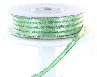 "50 yds Mint Green Gold Metallic Edge 1/8""  Satin  Ribbon"