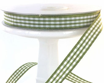 Moss Green 3/8 inch Plaid Gingham Ribbon  25 yards Specialty