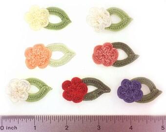 3 Cotton Rose w Leaf Flower Applique Embellishments