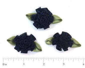 "30  1""  Navy Blue Satin Ribbon Carnation Cabbage Roses"