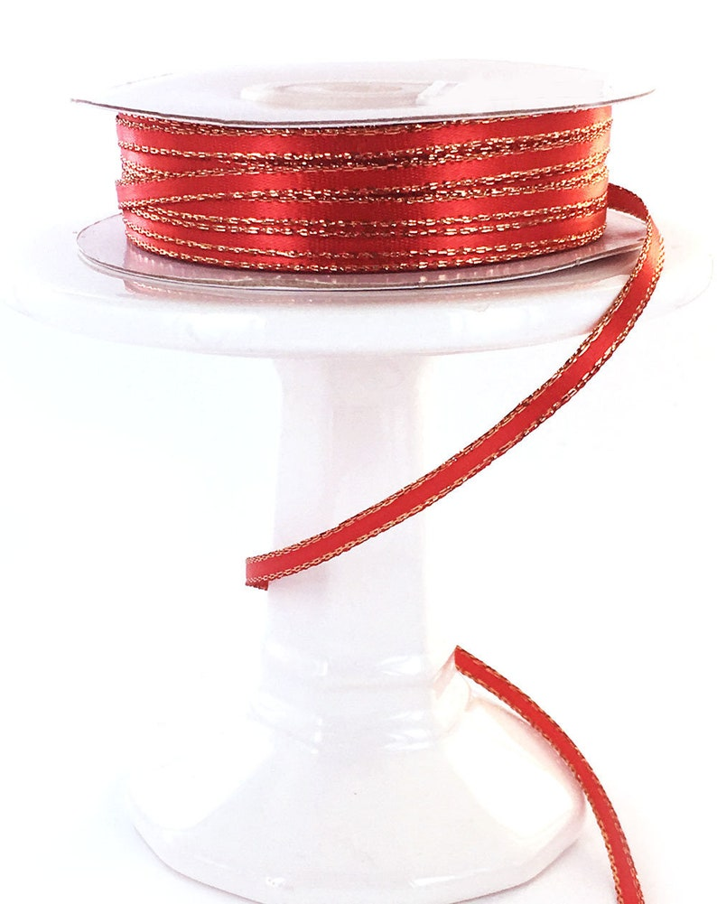 50 yds Red Gold Metallic Edge 18  Satin  Ribbon
