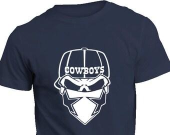 COWBOYS Shirt - Cowboys Skull Fan with Bandana Dallas Stars Football Shirt  Unisex S M L Xl Xxl 3X 9c7fd4029