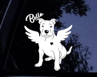 Pitt Bull Pup Dog Window Peeking Custom Auto//Car Vinyl Window Sticker Decal