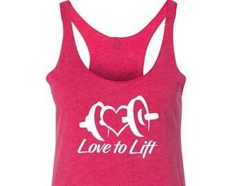 Love to Lift Heart Racerback Tank Top - Womens Ladies Workout - Triblend  Workout Fitness Tank Top Shirt - S M L Xl Xxl 5274e2423