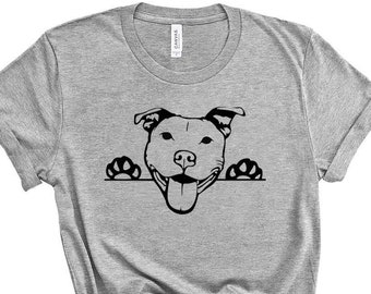 d3e337119 Pitbull Shirt - Cute Peek A Boo PITBULL Pit Bull Dog Unisex Bella Canvas T  Shirt S M L XL Xxl 3X