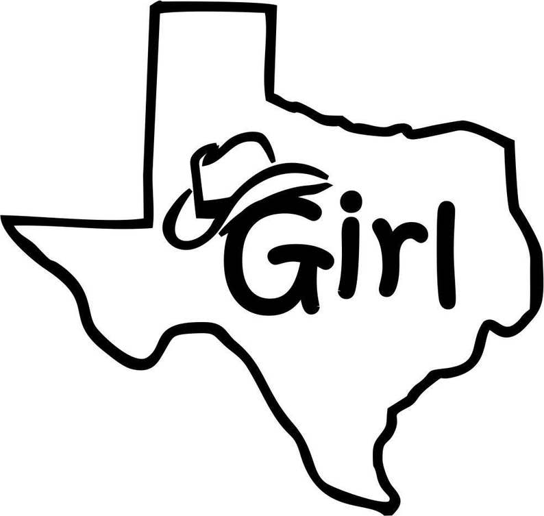 5db8c9d1 Texas Girl Cowboy Hat Decal- Texan Girl State Outline Vinyl Car Decal,  Laptop Decal, Car Window Wall Sticker