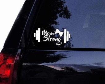 Summer Sale Barbell Mom Strong Decal with Girly Bow Vinyl Gym Fitness Crossfit Mom Weightlifter Gym Car Decal, Laptop Decal, Car Window Wall