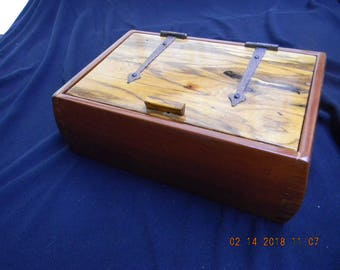 Wild cherry box with spalted sycamore lid and cedar tray insert