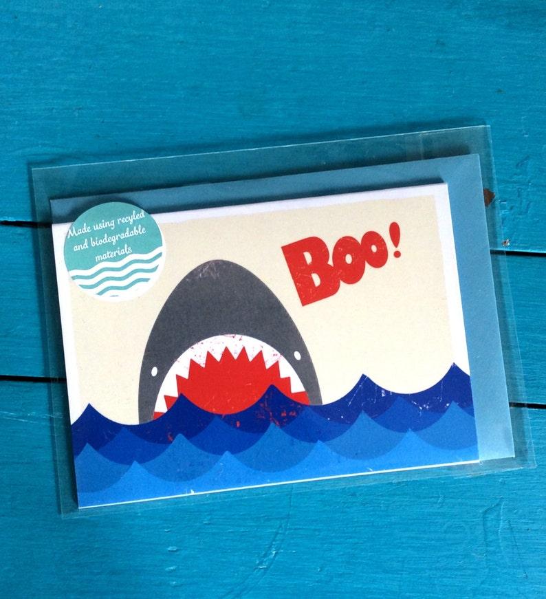 Boo Jaws Shark Blank Greetings Card image 0