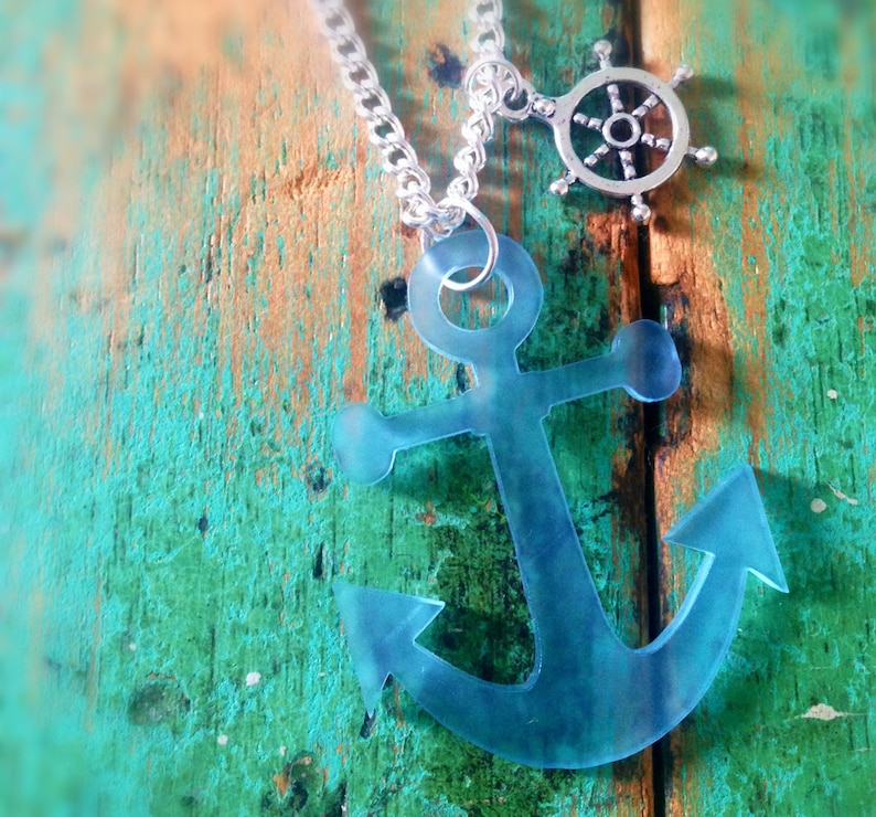 Frosted Blue Anchor Necklace image 0