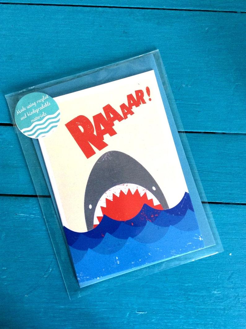 Raaaar Jaws Shark Blank Greetings Card image 0
