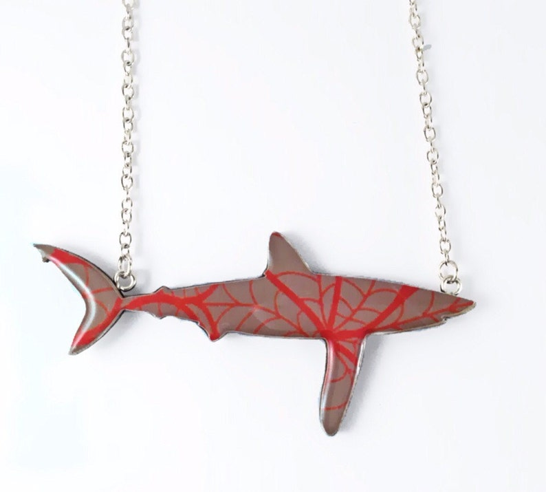 Autumn Leaf Print Longfin Mako Necklace image 0