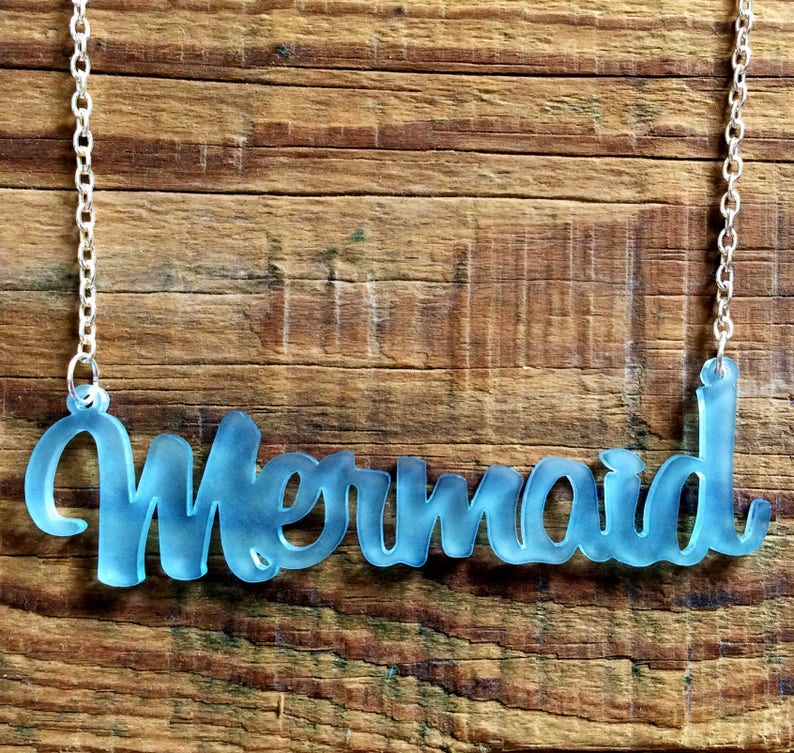 Frosted Blue Acrylic Mermaid Necklace image 0