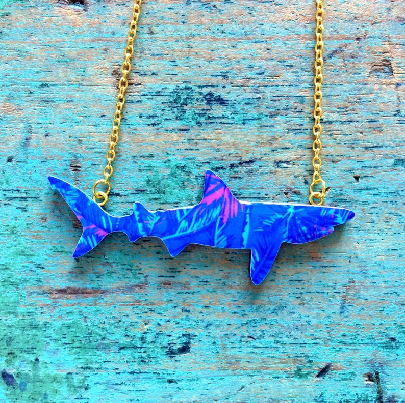 Shark Necklace / Basking Shark Necklace  Purple Palm Garden image 0