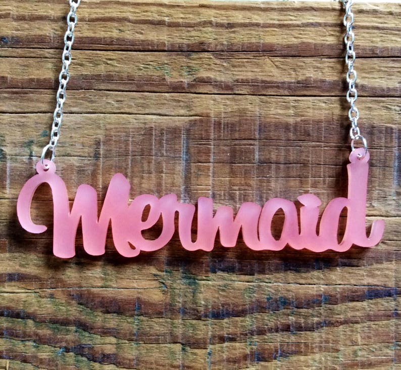 Frosted Pink Acrylic Mermaid Necklace image 0