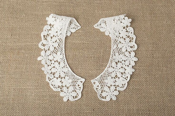 One Pair Two Pieces Lace Collar Lace Trim Collar Lace Etsy