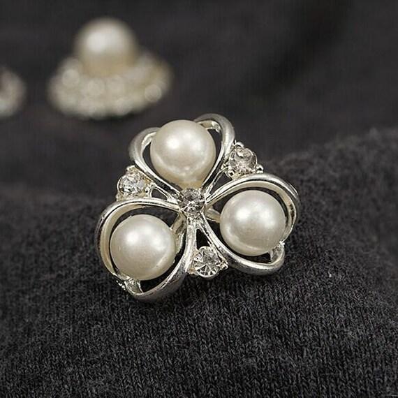 4PCS White Pearl Rhinestone Embellishment pearl button  dcae4628f7af