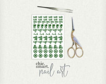 St Patricks Day V. 8 - Clover - Stamps - Kiss Me - Luck - Word Decals - Vinyl Nail Decals : 32 Color Choices