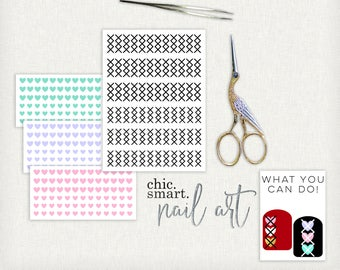 Valentines Nail Decals V. 23 - Argyle Hearts - Cross My Heart - X's - Sweater  - Vinyl Nail Decals : 21 Color Choices