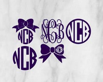 Sample Pack Monogram Decals Personalized / Monogram sticker / yet cooler monogram decal / laptop decal / car decal /circle monogram
