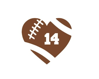 Football heart decal/ football number decal / monogram decal / football sticker / car decal / personalized football / laptop decal