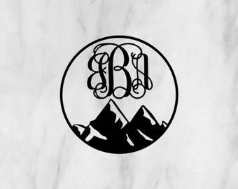 Mountain Monogram Decal / mountain sticker / monogram decal / monogram sticker / adventure decal / hiking decal / car monogram /