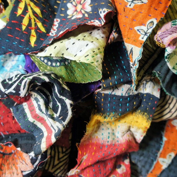 Fabric Sale   Original Kantha Mix Scraps by Etsy