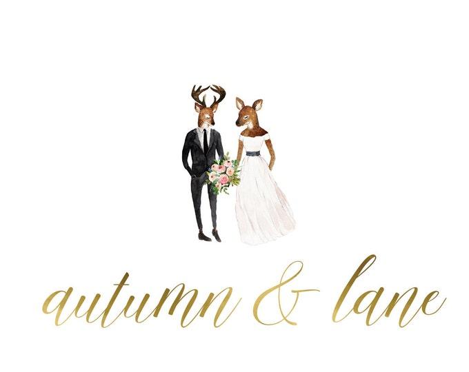 Premade Logo Design, Nature Logo, Watermark Logo, Modern Logo, Deer Logo, Wedding Logo, Floral Logo, Wedding Invitation Logo