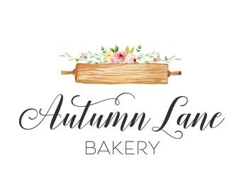 Premade Logo Design, Watermark Logo, Bakery Logo, Cake Logo, Watercolor Logo, Rolling Pin Logo, Floral Logo, Chef Logo, Cookie Logo