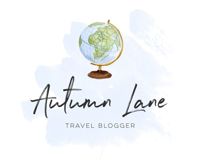 Premade Logo Design, Watermark Logo, Watercolor Logo, Travel Logo, Travel Blog Logo, Blogger's Logo, Website Logo, Globe Logo, Earth Logo
