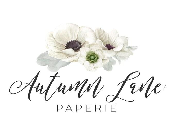 Premade Logo Design, Watermark Logo, Website Logo, Business Logo, Floral Logo, Watercolor Logo, Floral Branding, White Anemone Logo