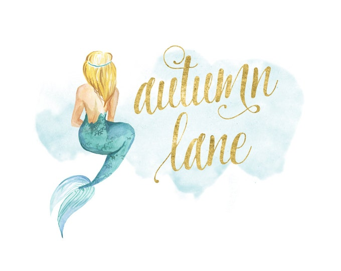 Premade Logo Design, Watermark Logo, Etsy Shop Logo, Mermaid Logo, Modern Logo, Business Logo, Beach Logo, Feminine Logo, Pretty Logo
