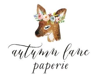 Premade Logo Design, Nature Logo, Watermark Logo, Modern Logo, Deer Logo, Floral Logo, Flower Logo, Rustic Logo, Shabby Chic Logo