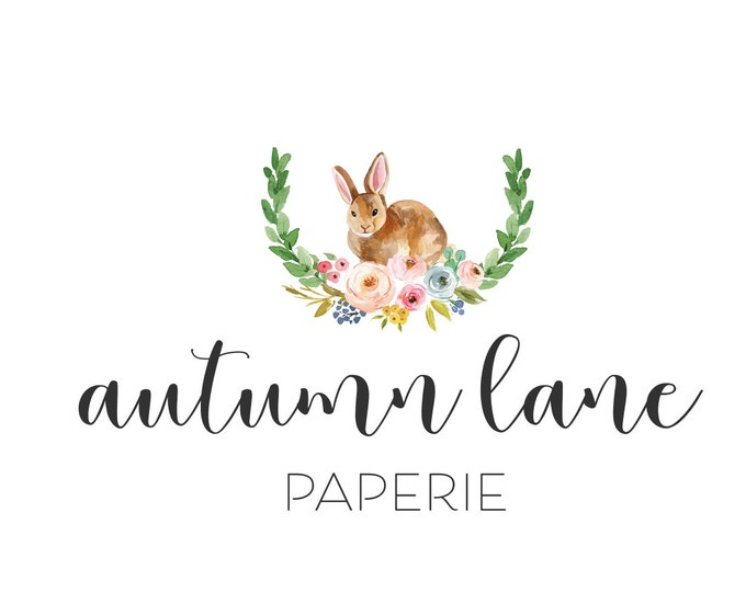 Premade Logo Design, Nature Logo, Watermark Logo, Modern Logo, Rabbit Logo, Bunny Logo, Bouquet Logo, Laurel Logo, Cute Logo, Animal Logo