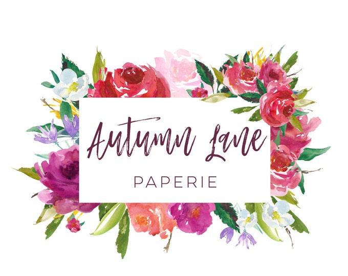 Premade Logo Design, Watermark Logo, Website Logo, Business Logo, Floral Logo, Watercolor Logo, Floral Branding, Red Flower Logo