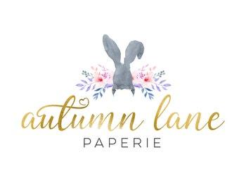 Premade Logo Design, Nature Logo, Watermark Logo, Modern Logo, Rabbit Logo, Bunny Logo, Floral Logo, Bouquet Logo, Cute Logo, Whimsical Logo