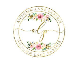 Premade Logo Design, Watermark Logo, Website Logo, Business Logo, Floral Logo, Watercolor Logo, Floral Branding, Circular Logo with Bouquets