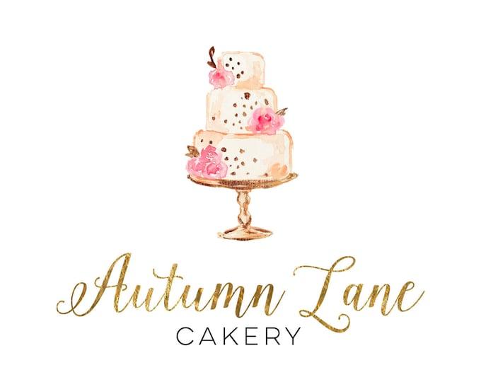 Premade Logo Design, Watermark Logo, Bakery Logo, Cake Logo, Watercolor Logo, Wedding Cake Logo, Floral Logo, Pretty Logo, Cake Artist Logo