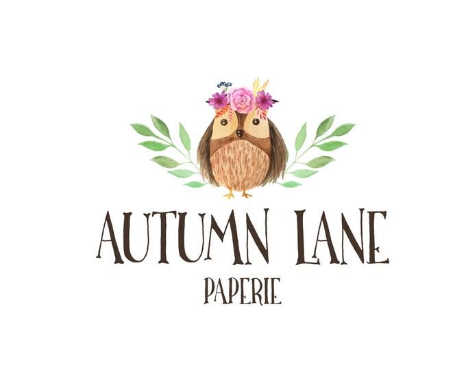 Premade Logo Design, Nature Logo, Watermark Logo, Modern Logo, Owl Logo, Baby Animal Logo, Cute Animal Logo, Floral Logo, Laurel Logo