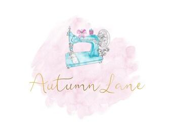 Premade Logo Design, Watermark Logo, Watercolor Logo, Sewing Machine Logo, Floral Logo, Seamstress Logo, Sewing Logo, Quilting Logo