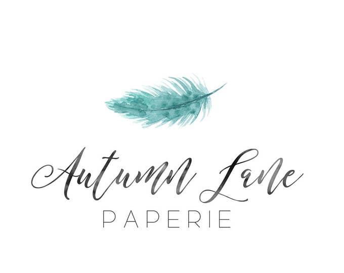Premade Logo Design, Nature Logo, Watermark Logo, Modern Logo, Feather Logo, Tribal Logo, Bird Logo, Rustic Logo, Shabby Chic Logo