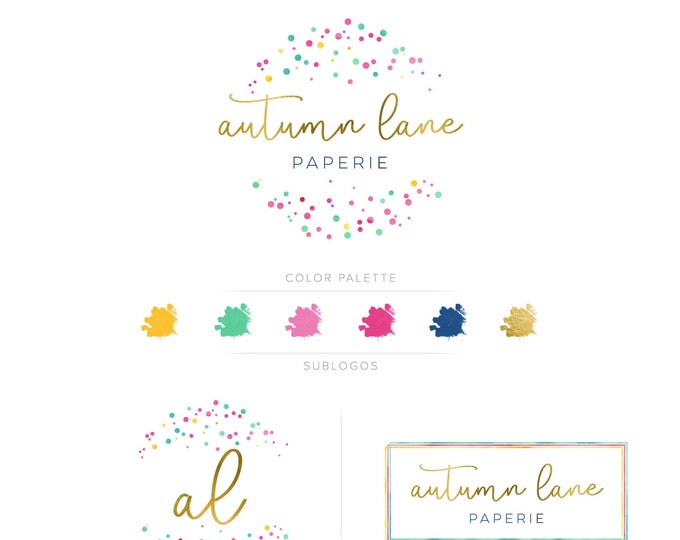 Premade Branding Kit - Branding Package - Logo Design - Premade Logo - Business Card Design - Watercolor Logo - Polka Dot Logo - Watermark