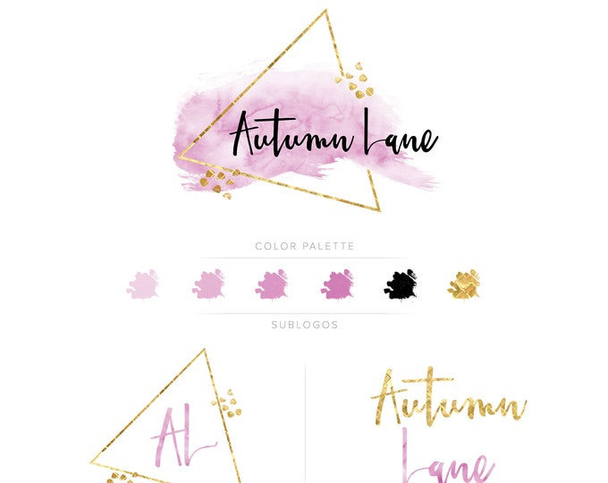 Premade Branding Kit - Branding Package - Logo Design - Premade Logo - Business Card Design - Watercolor Logo - Geometric Logo - Watermark