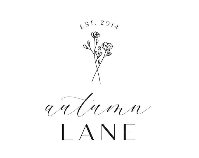 Premade Logo Design, Minimalist Logo, Website Logo, Business Logo, Floral Logo, Watercolor Logo, Bouquet Logo, Botanical Logo, Florist