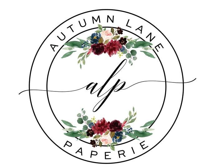 Premade Logo Design, Watermark Logo, Website Logo, Business Logo, Floral Logo, Watercolor Logo, Gold Circular Logo, Blush Floral Logo, Navy