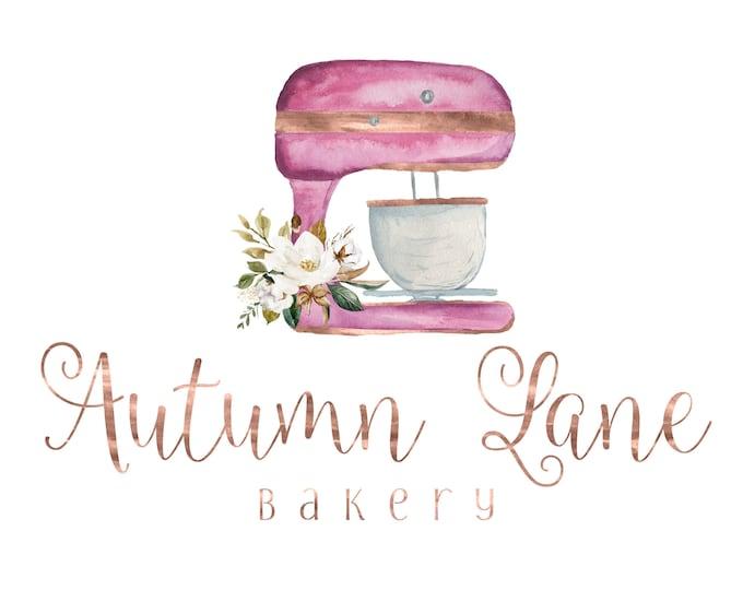 Premade Logo Design, Watermark Logo, Bakery Logo, Cake Logo, Watercolor Logo, Floral Logo, Chef Logo, Stand Mixer Logo, Baker Logo, Food