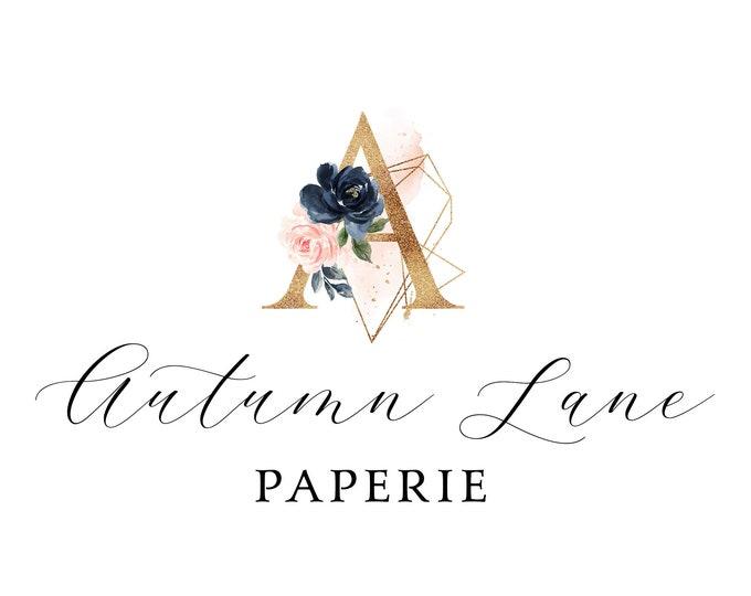 Premade Logo Design, Watermark Logo, Website Logo, Business Logo, Floral Logo, Watercolor Logo, Blush Pink Floral Logo, Navy Floral Logo