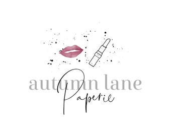 Premade Logo Design, Watercolor Logo, Feminine Logo, Beauty Logo, Makeup Artist Logo, Hair Stylist Logo, Lipstick Logo, Makeup Logo